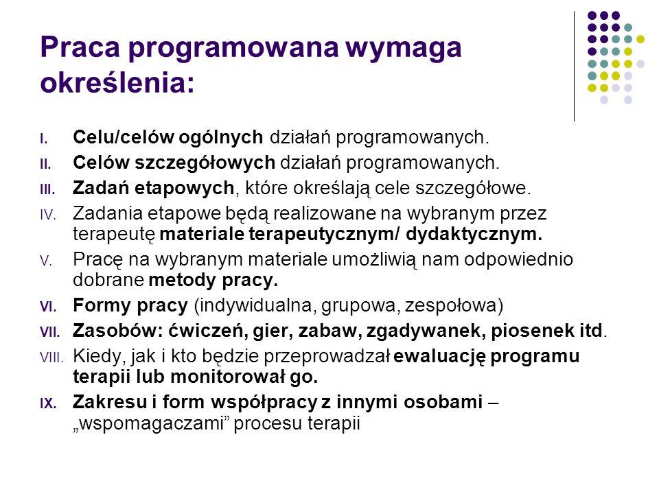 Praca programowana wymaga określenia: