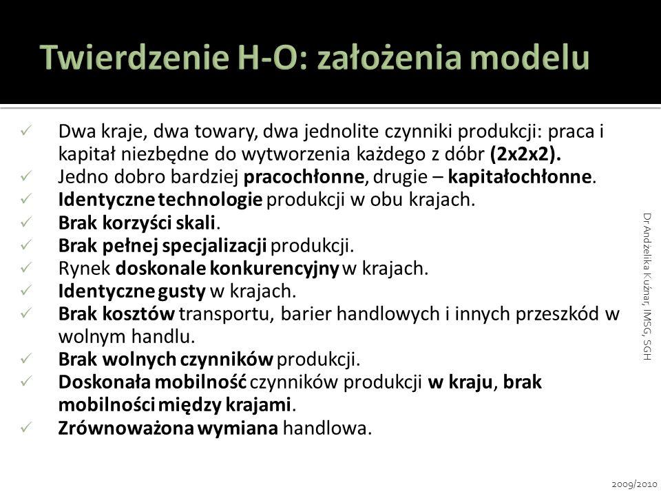 Twierdzenie H-O: założenia modelu