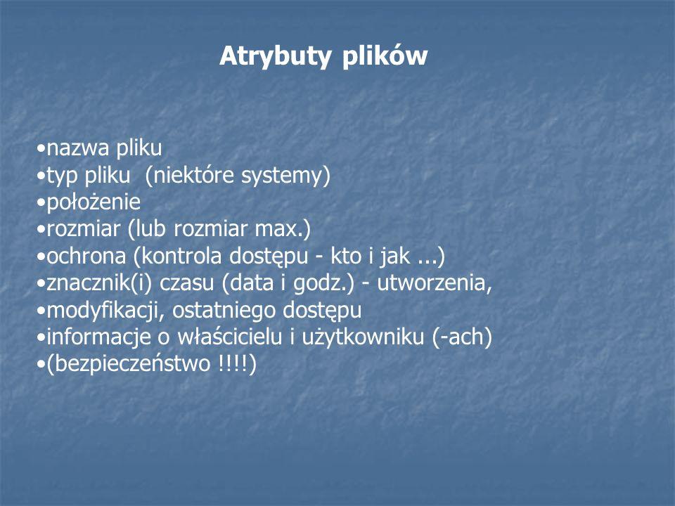 Atrybuty plików nazwa pliku typ pliku (niektóre systemy) położenie