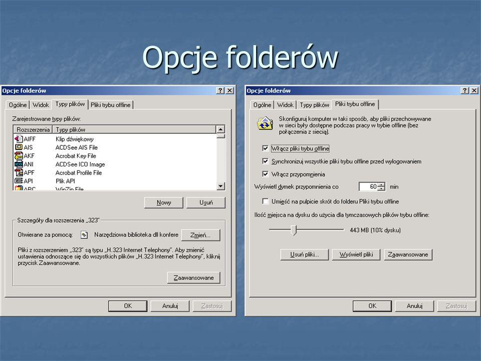 Opcje folderów