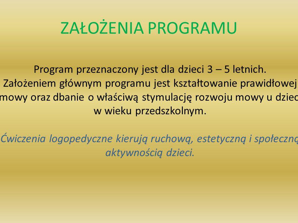 Program przeznaczony jest dla dzieci 3 – 5 letnich.