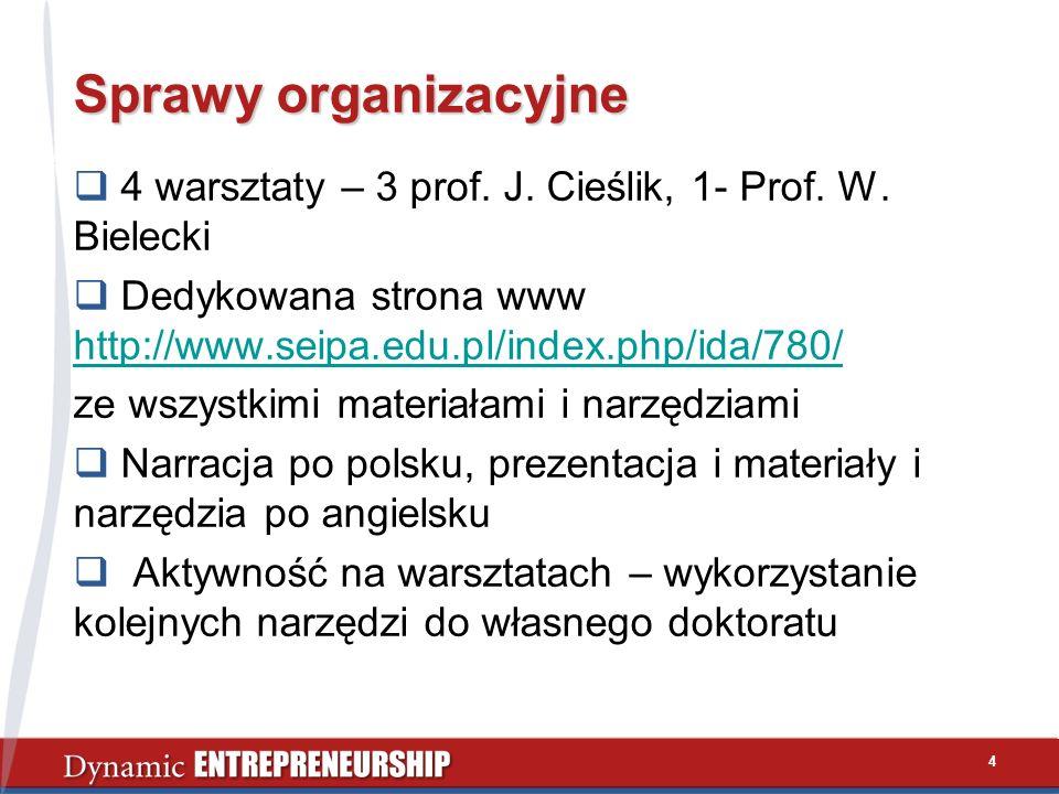 Sprawy organizacyjne 4 warsztaty – 3 prof. J. Cieślik, 1- Prof. W. Bielecki. Dedykowana strona www http://www.seipa.edu.pl/index.php/ida/780/