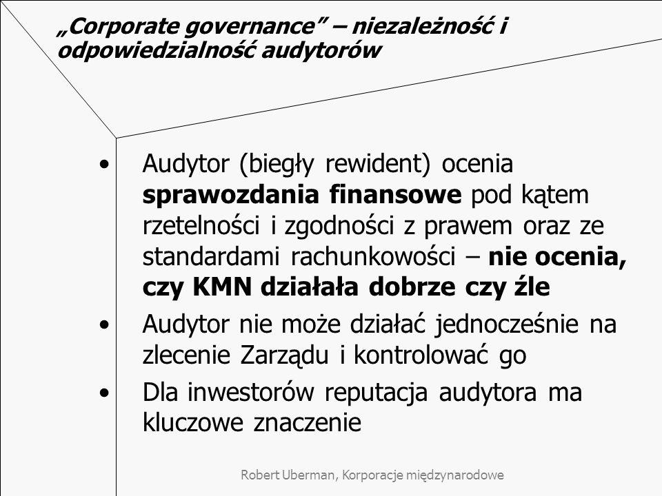 """""""Corporate governance – niezależność i odpowiedzialność audytorów"""