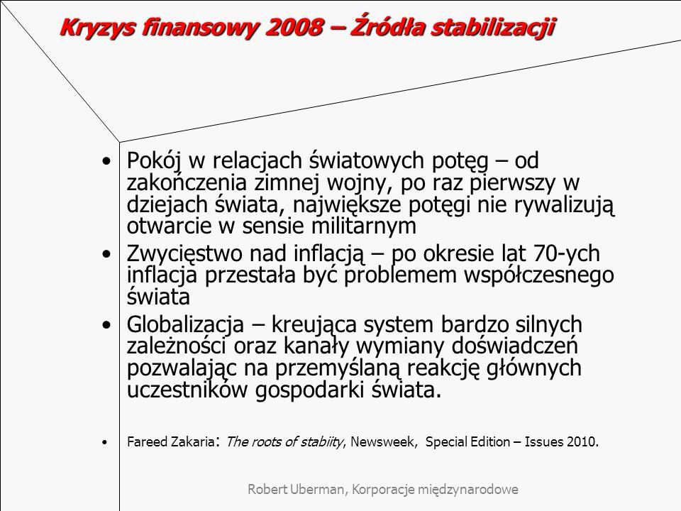 Kryzys finansowy 2008 – Źródła stabilizacji
