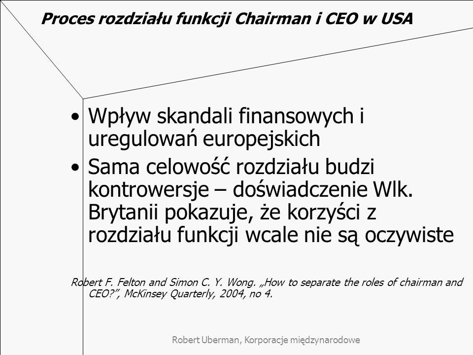 Proces rozdziału funkcji Chairman i CEO w USA