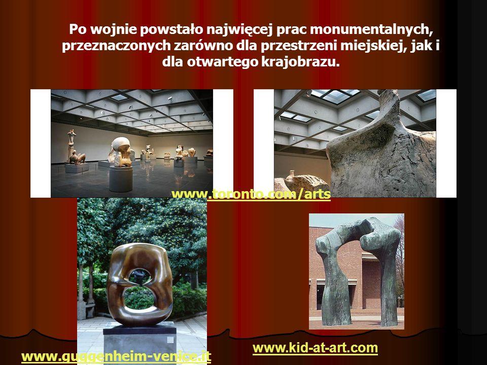 Po wojnie powstało najwięcej prac monumentalnych, przeznaczonych zarówno dla przestrzeni miejskiej, jak i dla otwartego krajobrazu.