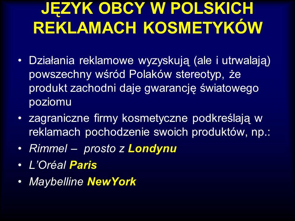 JĘZYK OBCY W POLSKICH REKLAMACH KOSMETYKÓW