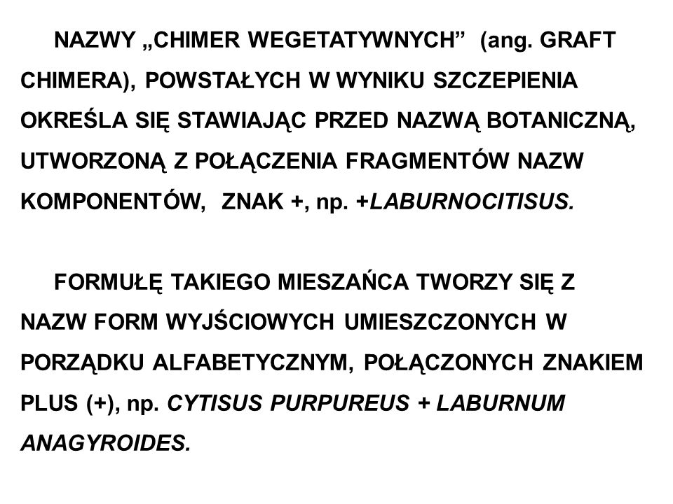 """NAZWY """"CHIMER WEGETATYWNYCH (ang"""