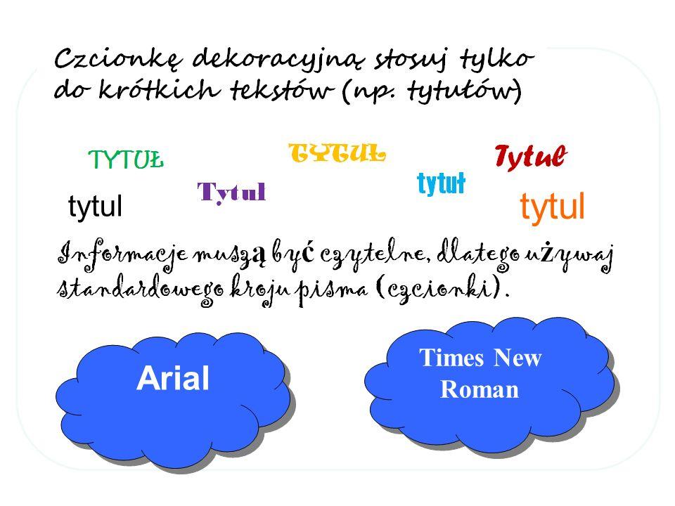 tytul tytul Times New Roman Arial