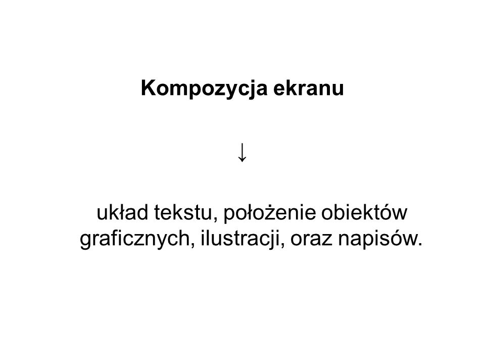 Kompozycja ekranu ↓ układ tekstu, położenie obiektów graficznych, ilustracji, oraz napisów.