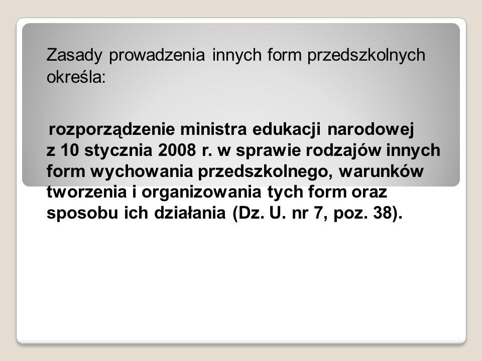 Zasady prowadzenia innych form przedszkolnych określa: