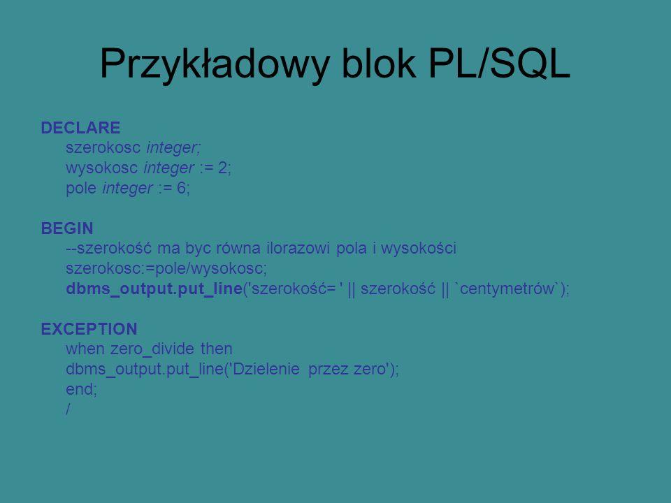 Przykładowy blok PL/SQL
