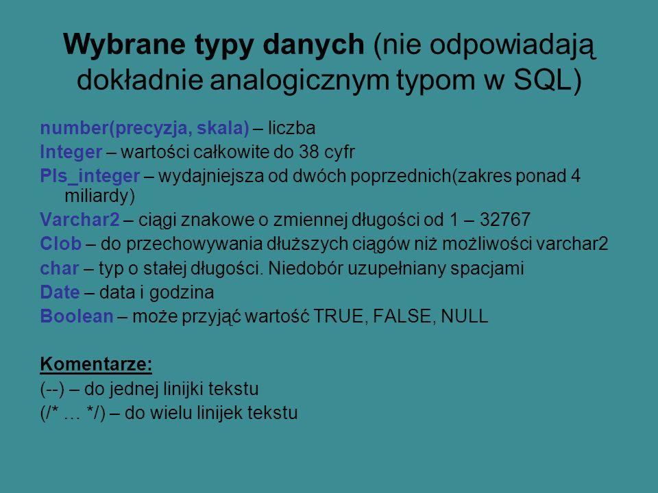 Wybrane typy danych (nie odpowiadają dokładnie analogicznym typom w SQL)