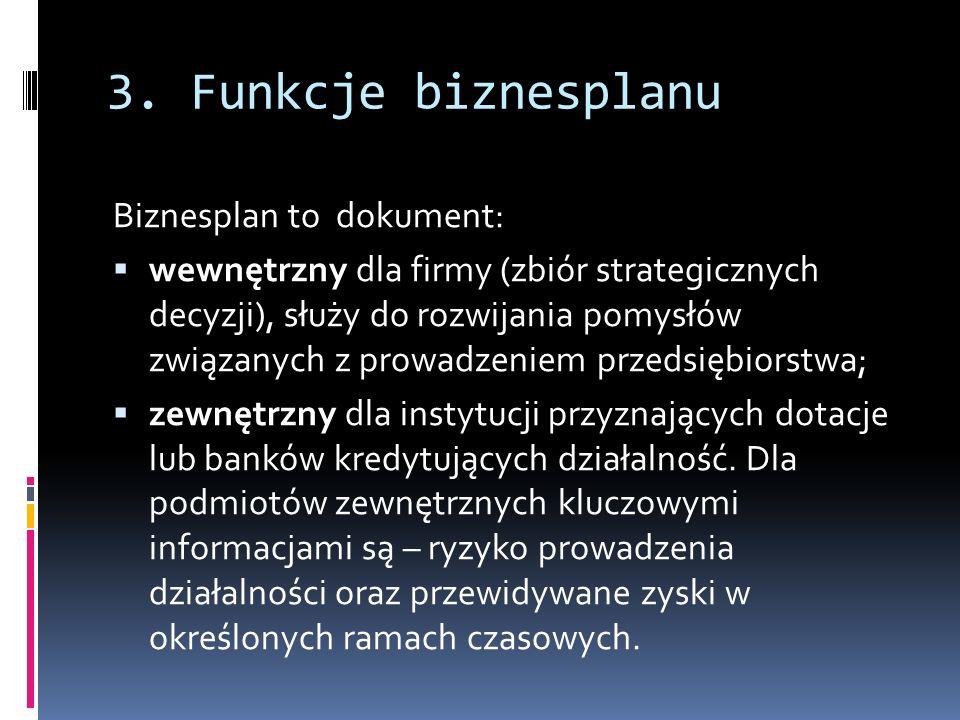 3. Funkcje biznesplanu Biznesplan to dokument: