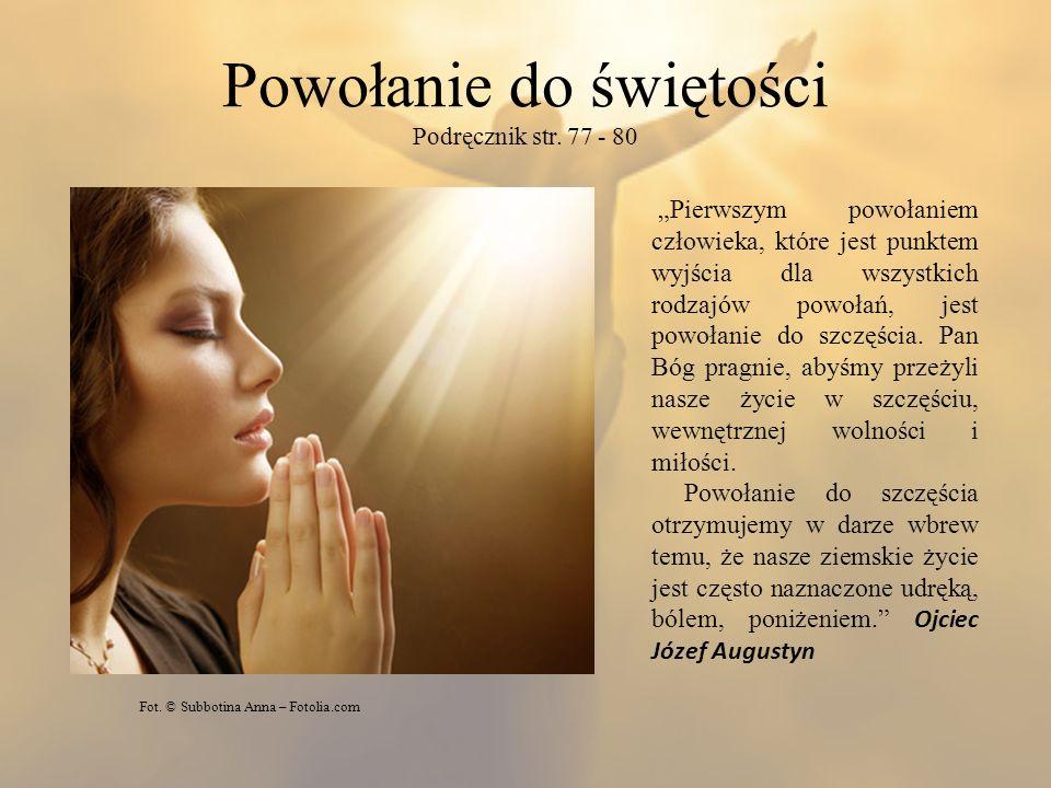 Powołanie do świętości Podręcznik str. 77 - 80