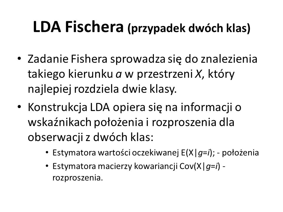 LDA Fischera (przypadek dwóch klas)