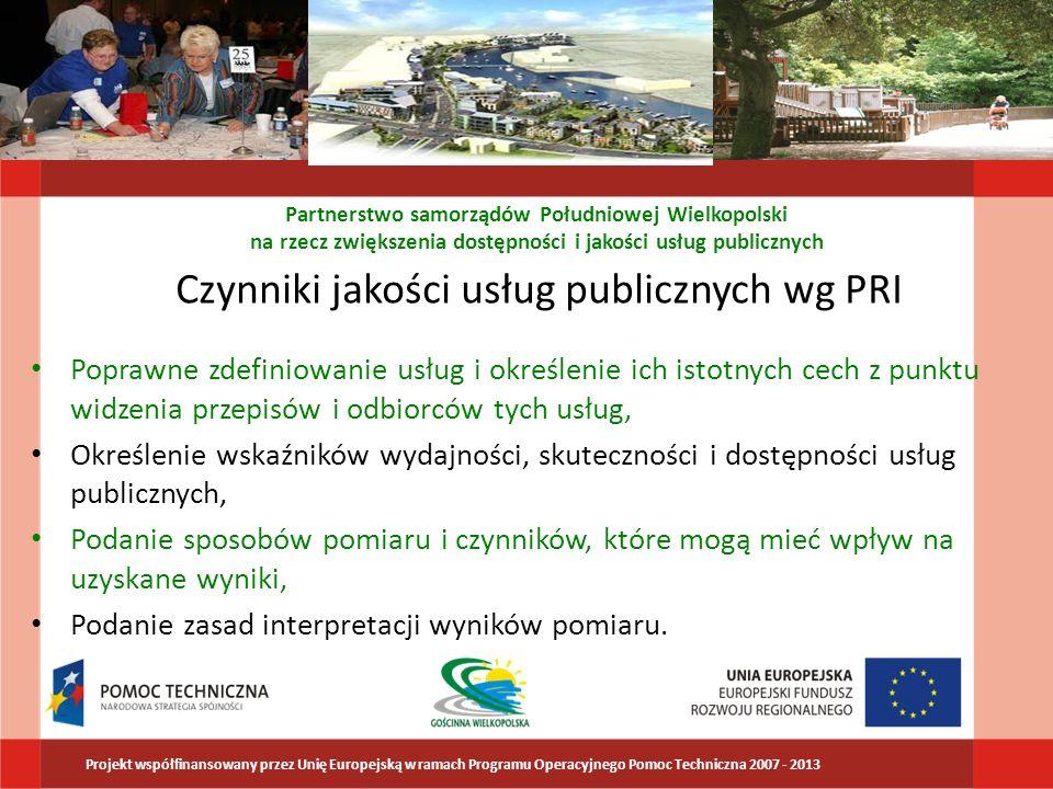 Czynniki jakości usług publicznych wg PRI