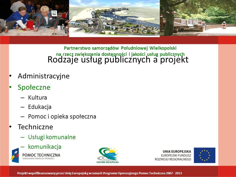 Rodzaje usług publicznych a projekt