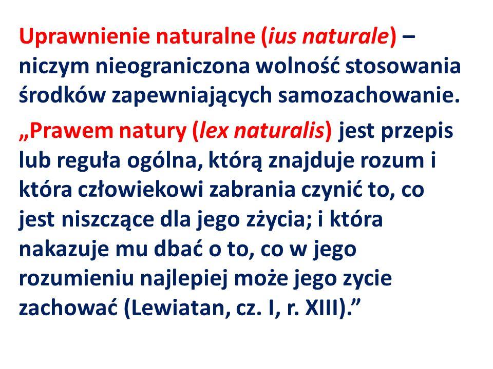 Uprawnienie naturalne (ius naturale) – niczym nieograniczona wolność stosowania środków zapewniających samozachowanie.