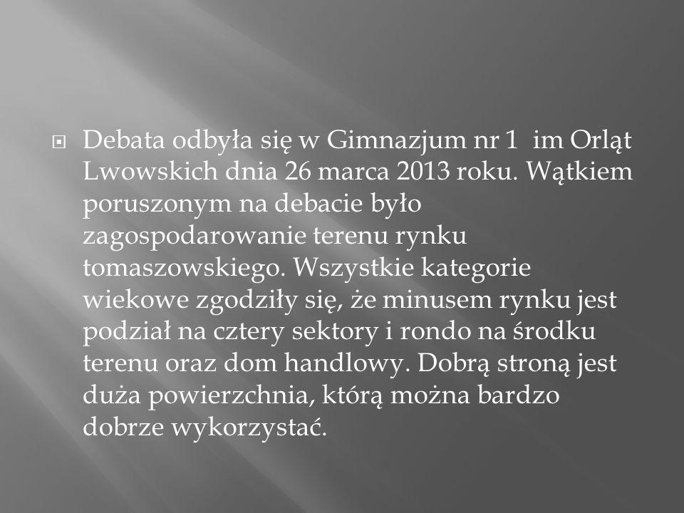 Debata odbyła się w Gimnazjum nr 1 im Orląt Lwowskich dnia 26 marca 2013 roku.
