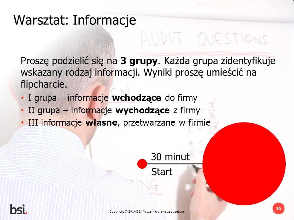 Warsztat: Informacje Proszę podzielić się na 3 grupy. Każda grupa zidentyfikuje wskazany rodzaj informacji. Wyniki proszę umieścić na flipcharcie.