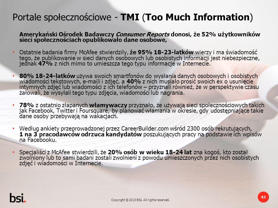Portale społecznościowe - TMI (Too Much Information)