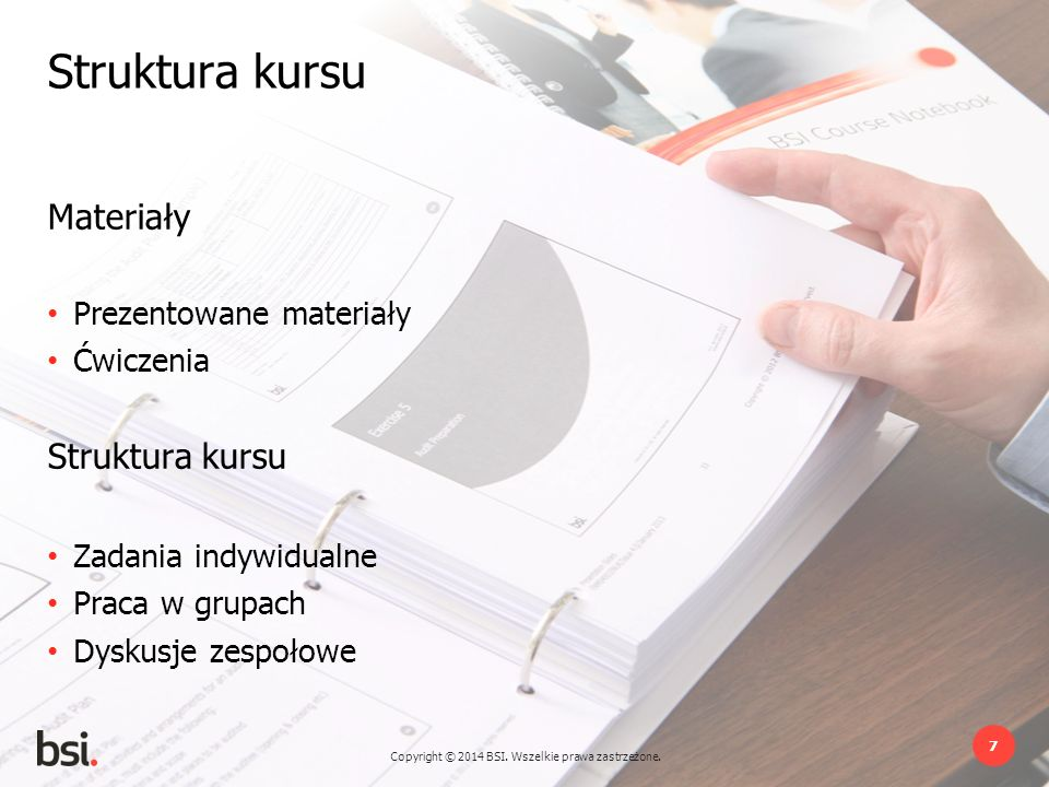 Struktura kursu Materiały Struktura kursu Prezentowane materiały