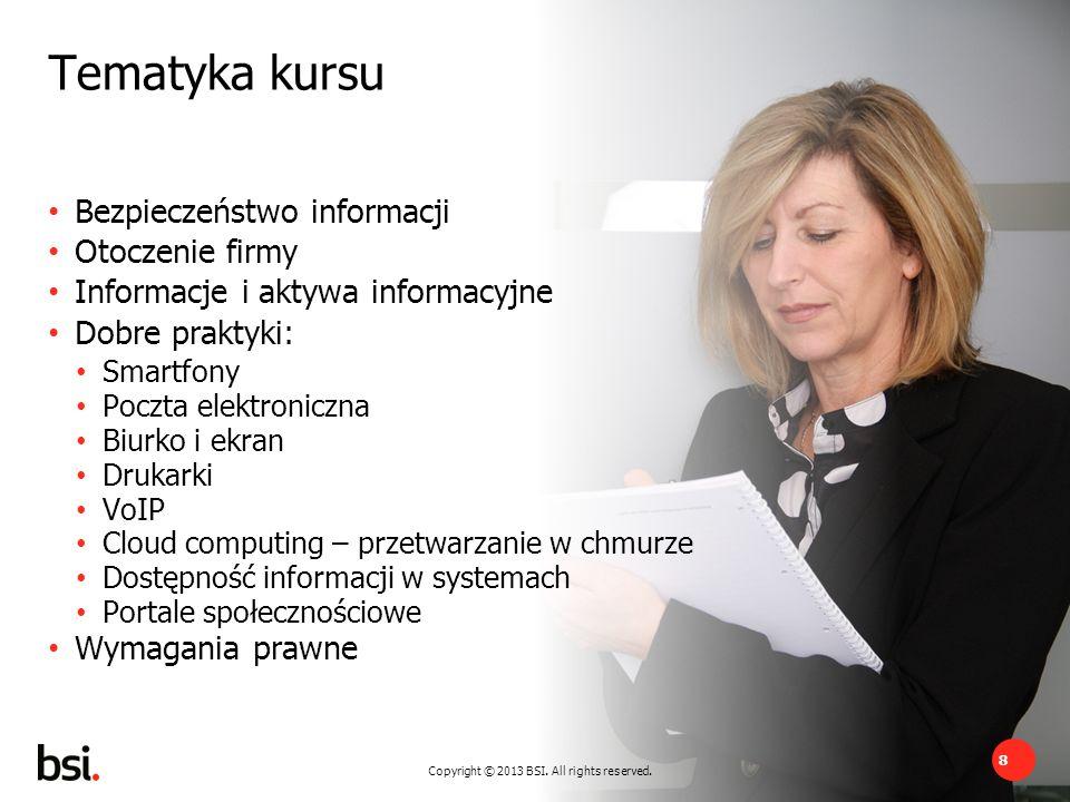 Tematyka kursu Bezpieczeństwo informacji Otoczenie firmy