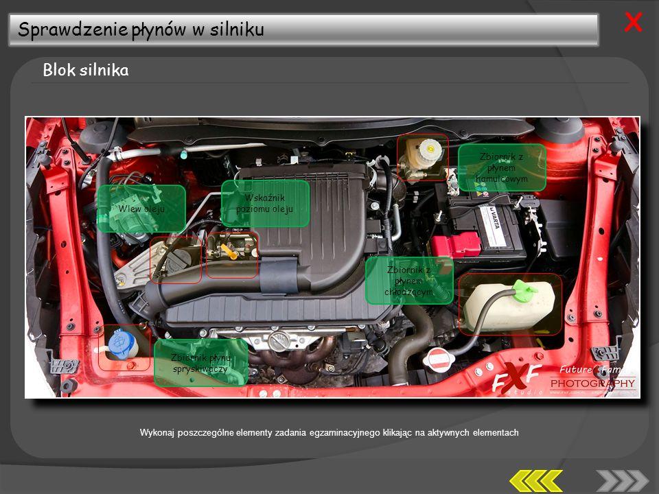 X Sprawdzenie płynów w silniku Blok silnika