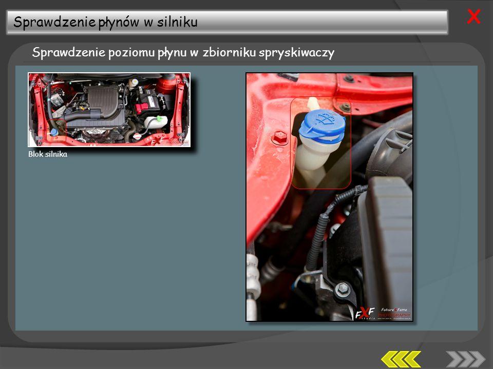 X Sprawdzenie płynów w silniku