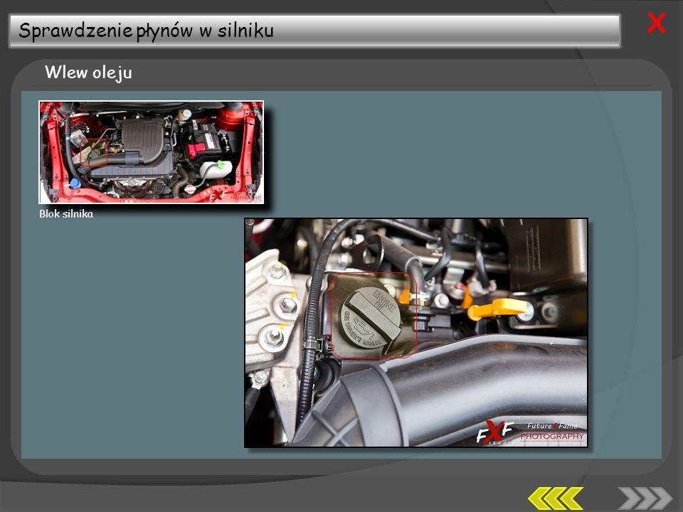 X Sprawdzenie płynów w silniku Wlew oleju Blok silnika