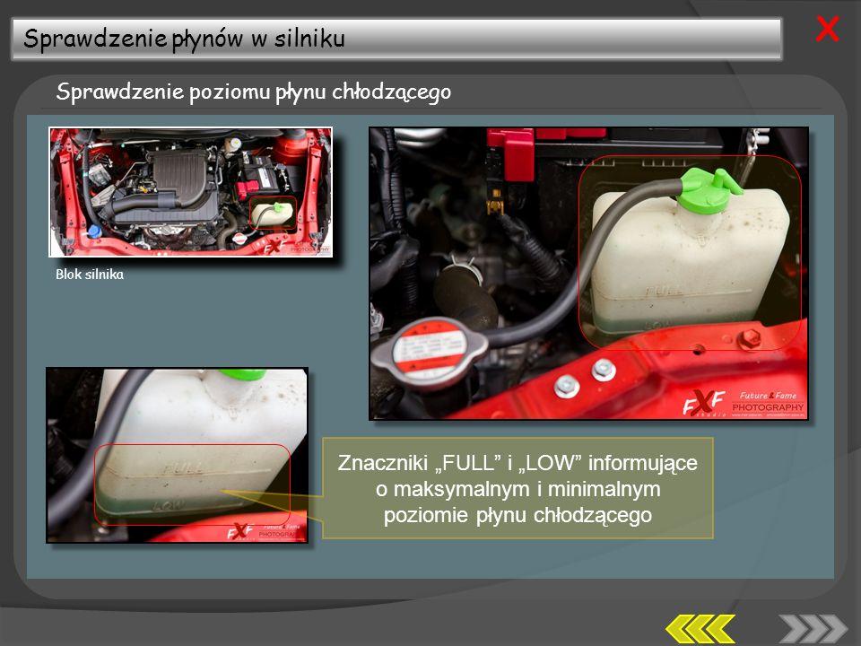 X Sprawdzenie płynów w silniku Sprawdzenie poziomu płynu chłodzącego