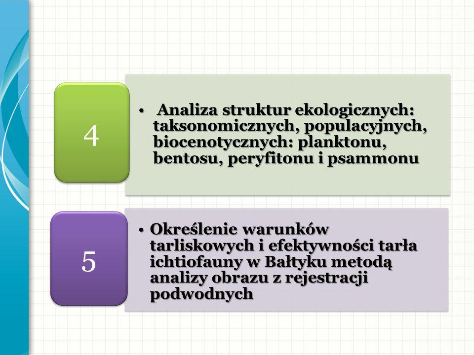 4 Analiza struktur ekologicznych: taksonomicznych, populacyjnych, biocenotycznych: planktonu, bentosu, peryfitonu i psammonu.