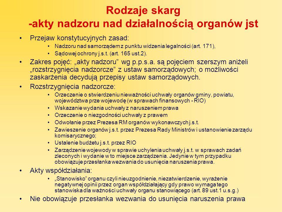 Rodzaje skarg -akty nadzoru nad działalnością organów jst