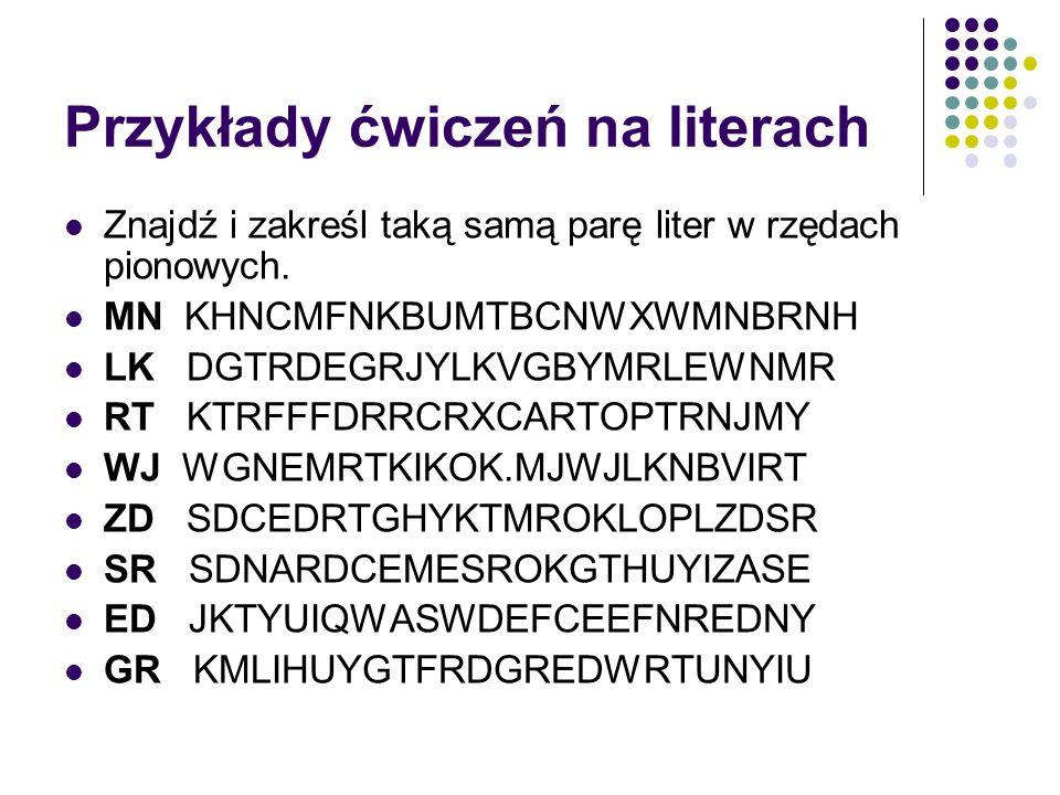 Przykłady ćwiczeń na literach