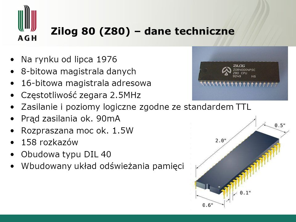 Zilog 80 (Z80) – dane techniczne