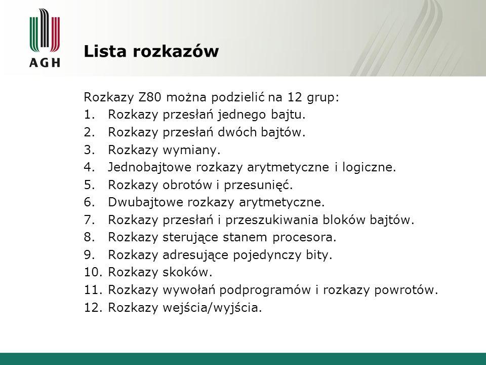 Lista rozkazów Rozkazy Z80 można podzielić na 12 grup: