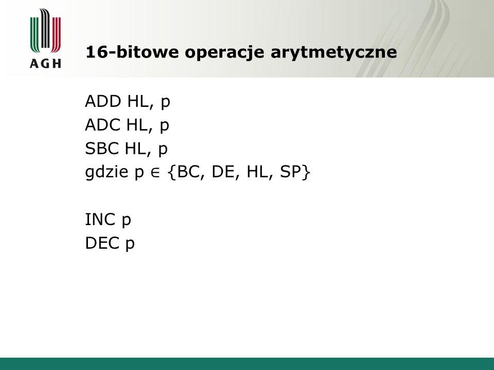 16-bitowe operacje arytmetyczne