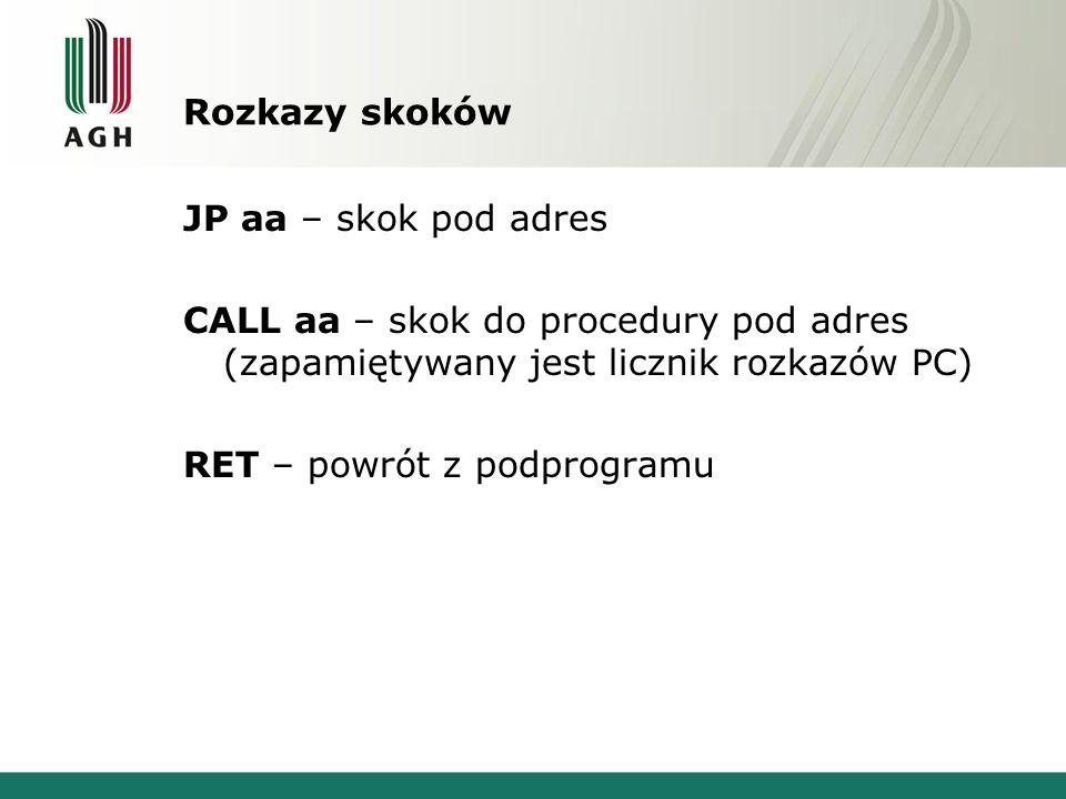 Rozkazy skoków JP aa – skok pod adres CALL aa – skok do procedury pod adres (zapamiętywany jest licznik rozkazów PC) RET – powrót z podprogramu