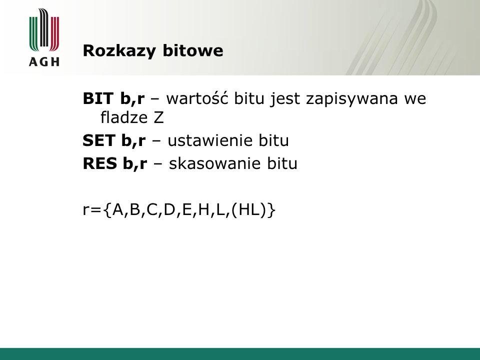Rozkazy bitowe BIT b,r – wartość bitu jest zapisywana we fladze Z. SET b,r – ustawienie bitu. RES b,r – skasowanie bitu.
