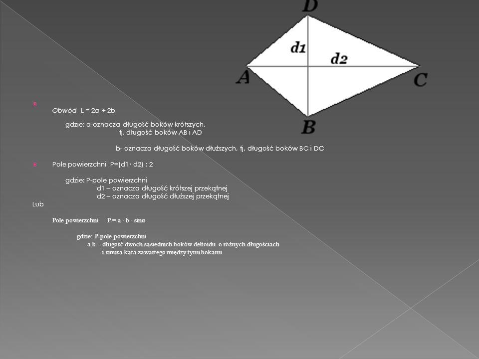 Obwód L = 2a + 2b gdzie: a-oznacza długość boków krótszych, tj. długość boków AB i AD.