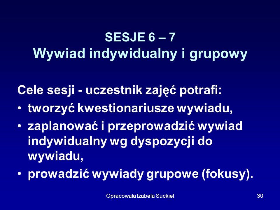 SESJE 6 – 7 Wywiad indywidualny i grupowy