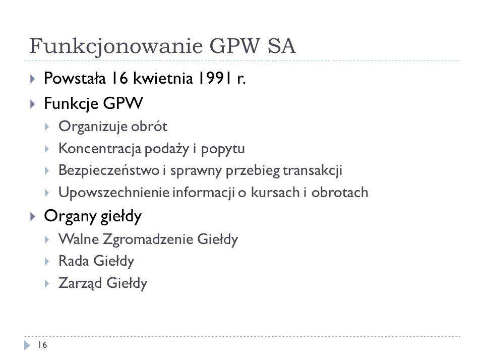 Funkcjonowanie GPW SA Powstała 16 kwietnia 1991 r. Funkcje GPW
