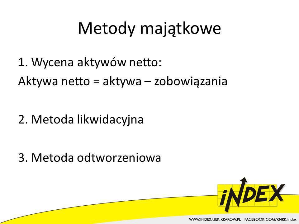 Metody majątkowe 1. Wycena aktywów netto: Aktywa netto = aktywa – zobowiązania 2.