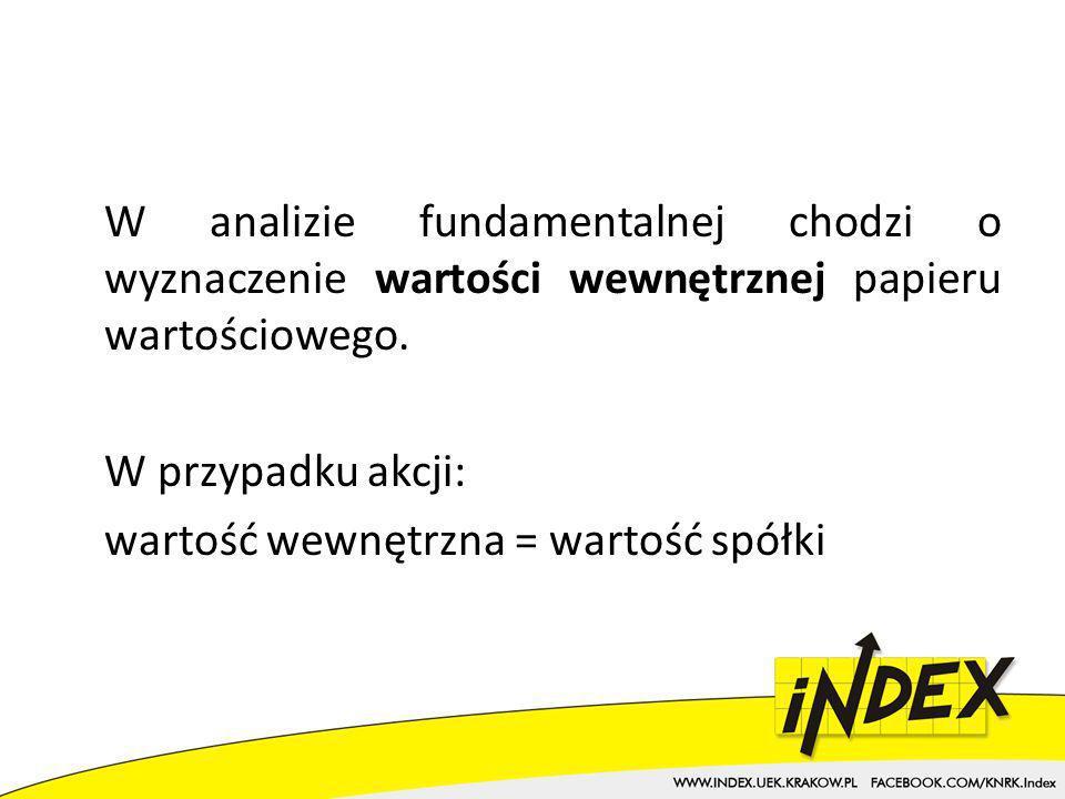 W analizie fundamentalnej chodzi o wyznaczenie wartości wewnętrznej papieru wartościowego.
