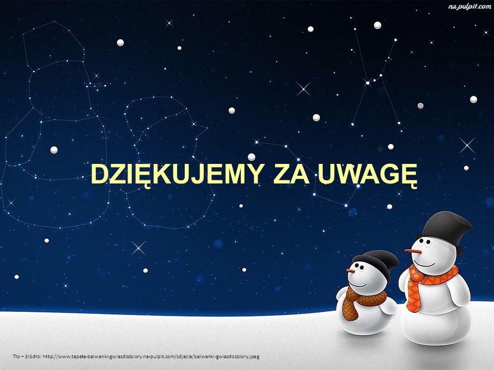 DZIĘKUJEMY ZA UWAGĘ Tło – źródło: http://www.tapeta-balwanki-gwiazdozbiory.na-pulpit.com/zdjecia/balwanki-gwiazdozbiory.jpeg.