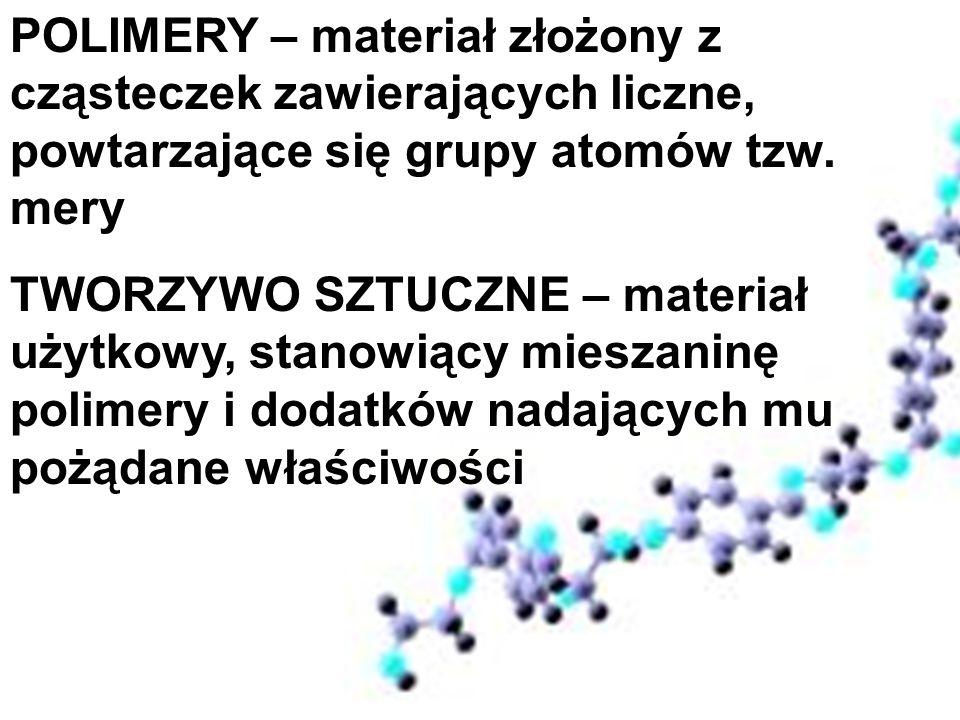 POLIMERY – materiał złożony z cząsteczek zawierających liczne, powtarzające się grupy atomów tzw. mery