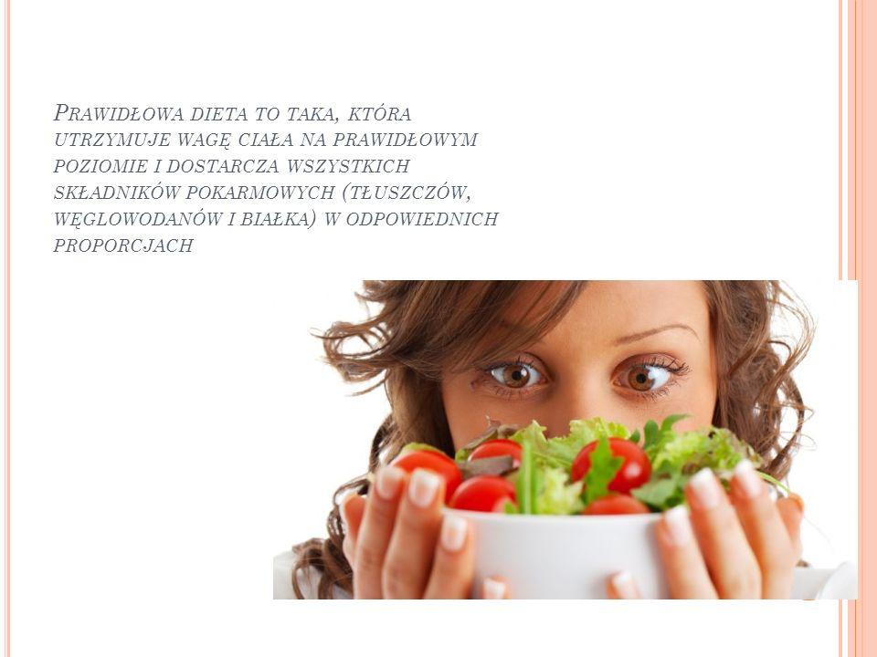 Prawidłowa dieta to taka, która utrzymuje wagę ciała na prawidłowym poziomie i dostarcza wszystkich składników pokarmowych (tłuszczów, węglowodanów i białka) w odpowiednich proporcjach