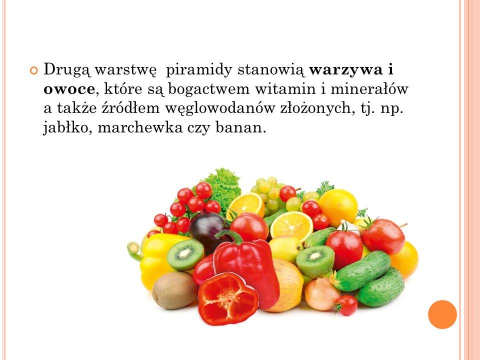 Drugą warstwę piramidy stanowią warzywa i owoce, które są bogactwem witamin i minerałów a także źródłem węglowodanów złożonych, tj.