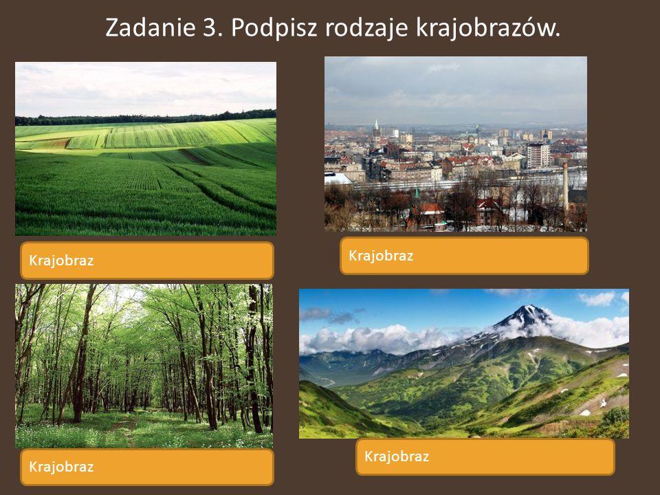Zadanie 3. Podpisz rodzaje krajobrazów.